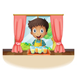 A boy holding a tray of juice vector image