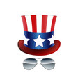 american cowboy usa flag hat and glasses vector image