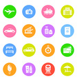 Travel icons in color circles vector image vector image