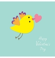 Flying bird with heart Flat design style Happy vector image