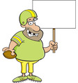 Cartoon football player holding a sign vector image