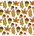 autumn background seamless pattern with acorns vector image