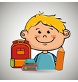 boy student bag color book vector image