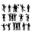celebration poses collection of black silhouettes vector image