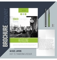 Green brochure cover template with blured city vector image