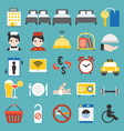 hotel service sign and icon set flat design vector image