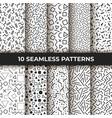 set of ten seamless patterns retro memphis vector image