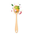 vegetables in wooden spoon and spices vector image