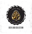Creative logo design with beer bottle cap vector image