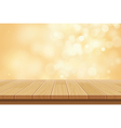 wood table top on golden bokeh abstract background vector image