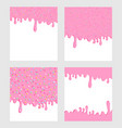 pink donut glaze background set liquid sweet flow vector image