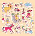 hand drawn holiday stickers with rainbow unicorn vector image
