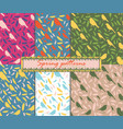 set of 6 patterns patterns with birds and feather vector image