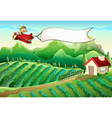 A pilot with an empty banner flying above the farm vector image vector image