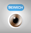 Brown Eye and Search Button on Grey Background vector image vector image