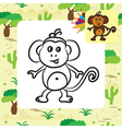 monkey coloring page vector image vector image