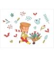 Love Gardener set Dodo people collection vector image