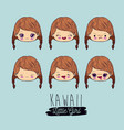 blue background set facial expression kawaii vector image