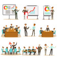 managers and office workers on business training vector image