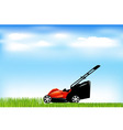Red lawn mower vector image