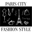 Paris city Fashion style symbols of the city vector image
