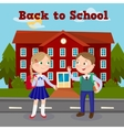 Education Concept with School Building and Pupils vector image
