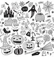 halloween items ornamental style set vector image