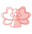 red shading silhouette of decorative angel vector image
