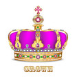 imperial crown with jewels on a white background vector image vector image