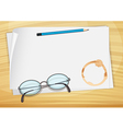 An empty bondpaper with a pencil an eyeglass and a vector image