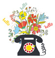 Phone with flowers and hello word - communication vector image
