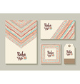 Boho style card and tag designs with colorful art vector image vector image