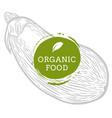 label eggplant fresh natural eco food hand drawn vector image