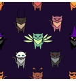 Cute Hallowen cats on the purple background vector image