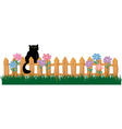 Cute Black cat on a fence vector image