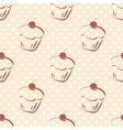 Tile pattern with cherry cupcakes and polka dots vector image vector image