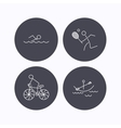 Swimming tennis and biking icons vector image
