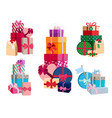 array of gifts in different colorful packages with vector image