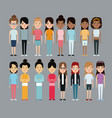 cartoon woman differents culture race ethnic vector image