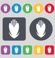 Corn icon sign A set of 12 colored buttons Flat vector image