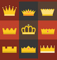 crown flat design set 4 vector image