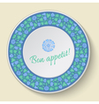 Decorative plate template with blue clover vector image
