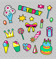 happy birthday party stickers with cake vector image