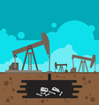 Oil well drilling with fossil underground vector image