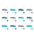 stylized different types of cars icons vector image