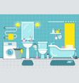 bathroom home interior with shower bath and vector image