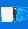 paper template with girl in scuba diving outfit vector image vector image