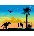 travelers around the pyramids and palm trees at vector image vector image