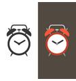 alarm clock flat design and silhouette vector image