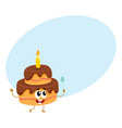 birthday party cake character with smiling human vector image